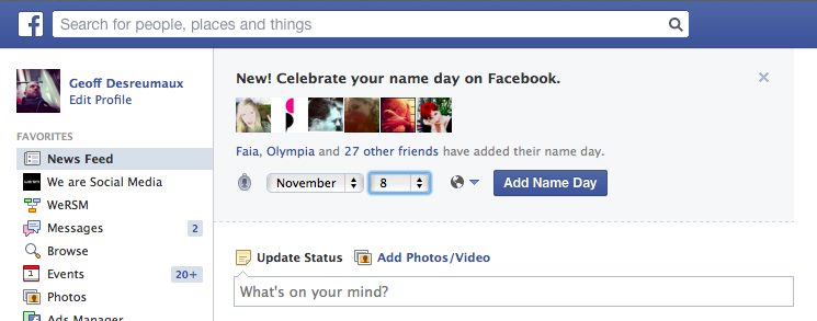Facebook Name Day