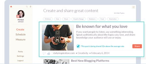 Create tab on Klout