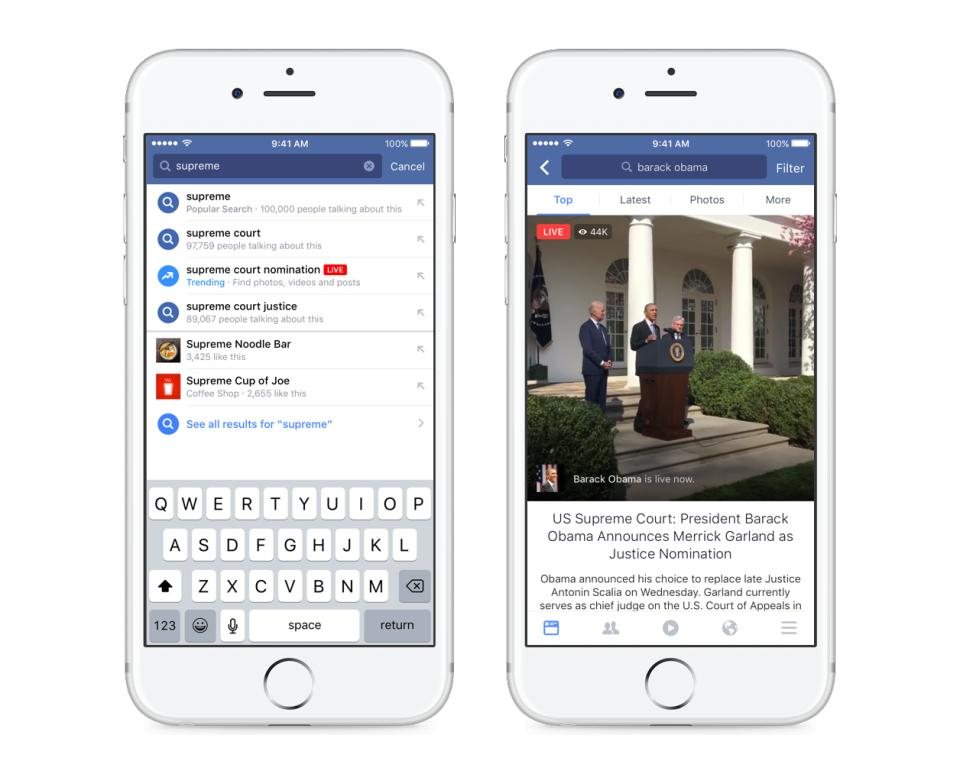 wersm live video search trending topic facebook app