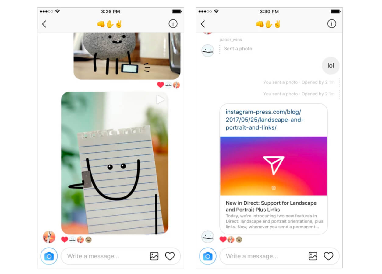 Instagram direct messages now support web links, landscape photo orientation
