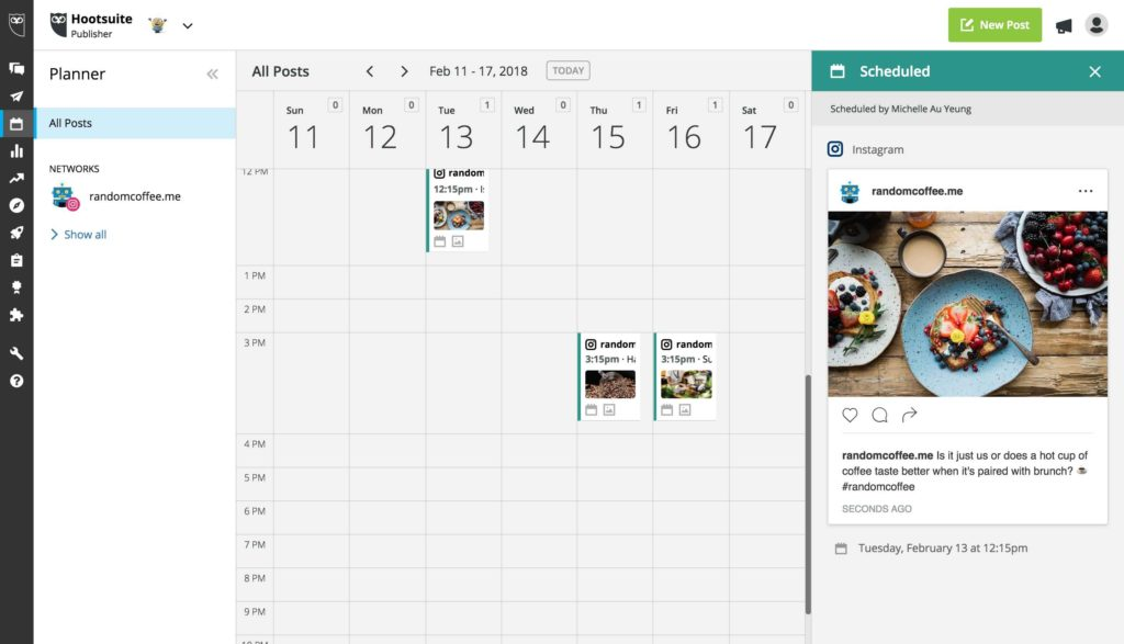 wersm screenshot hootsuite schedule instagram posts