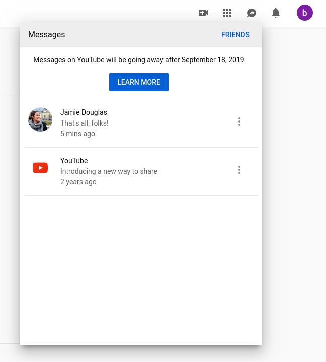youtube removes direct messaging feature