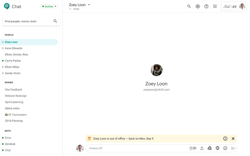 hangouts chat out of office