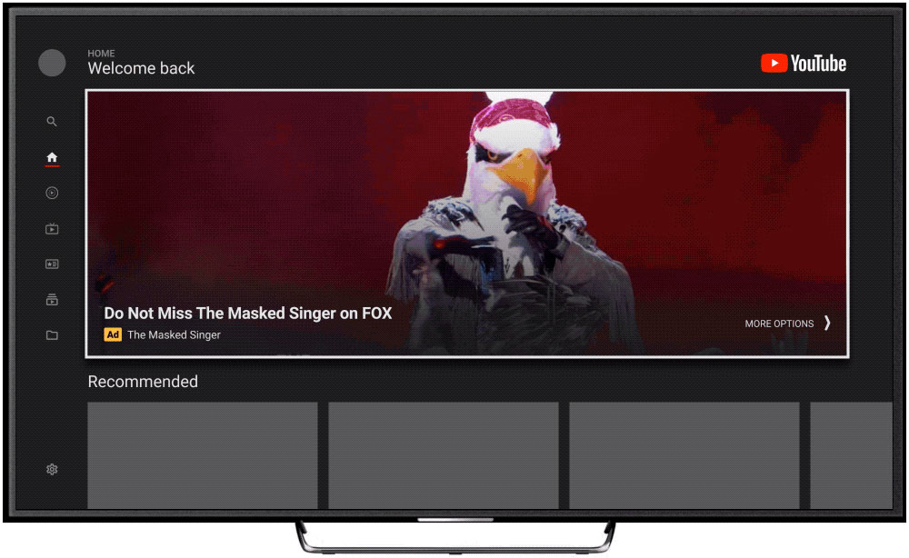 youtube masthead tv screen