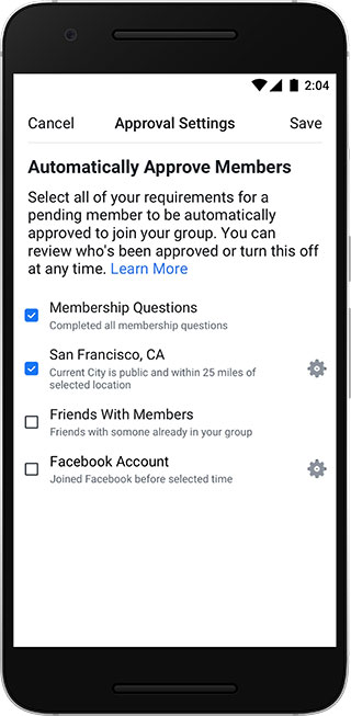facebook groups automatic approvals