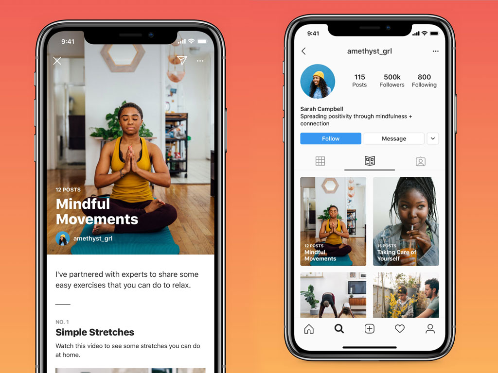 Three screenshots of Instagram Guides including the consumer Profile view, Guide view, and Stories sharing