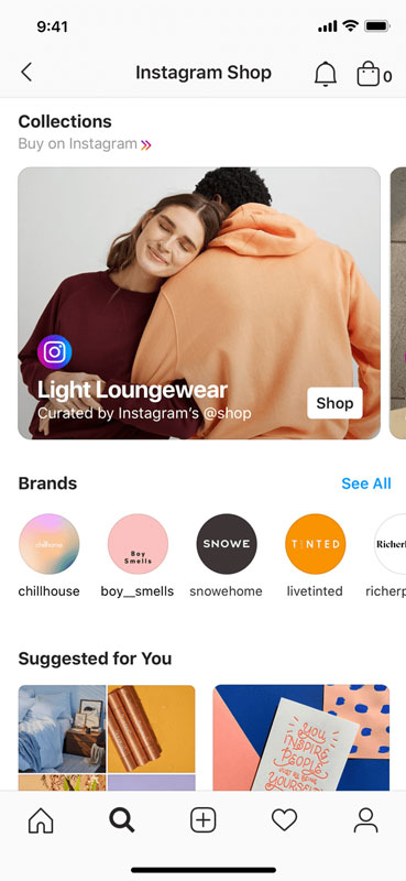 A view example of Collections category, and brands to select from in Instagram Shop.