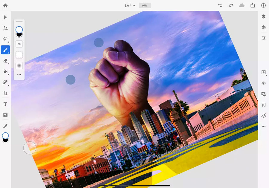 photoshop for ipad rotate canvas tool
